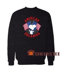 American Dreaming Snoopy Sweatshirt American Flag Size S-3XL
