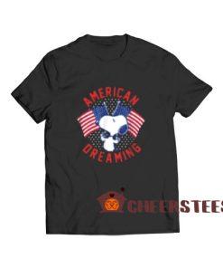 American Dreaming Snoopy T-Shirt American Flag S-3XL