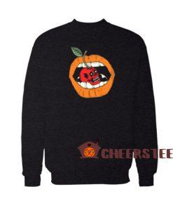 Cherry Lip Freaky Skull Sweatshirt Halloween Lip Girl Size S-3XL