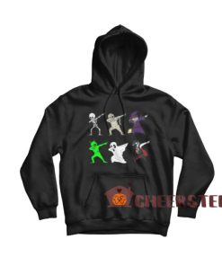 Dabbing Skeleton And Monsters Hoodie Halloween Size S-3XL