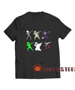 Dabbing Skeleton And Monsters T-Shirt Halloween S-3XL
