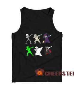 Dabbing Skeleton And Monsters Tank Top Halloween Size S-2XL