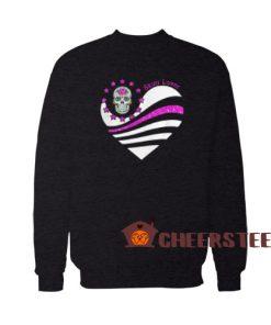 Skull Lover Heart Sweatshirt Cute Skull Size S-3XL