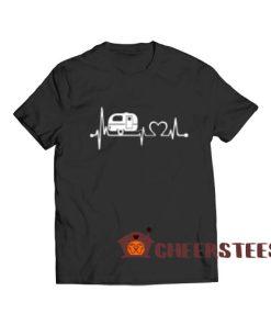 RV Camper Heartbeat T-Shirt Happy Camper