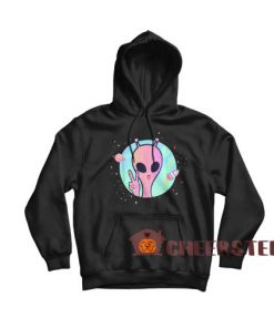 Peace Sign Hand Ufo Hoodie Planet Stars Ufo For Unisex