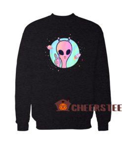 Peace Sign Hand Ufo Sweatshirt Planet Stars Ufo For Unisex