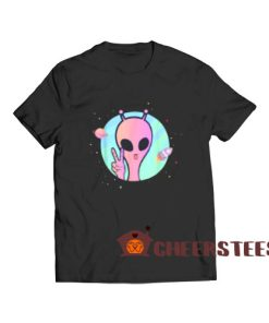 Peace Sign Hand Ufo T-Shirt Planet Stars Ufo