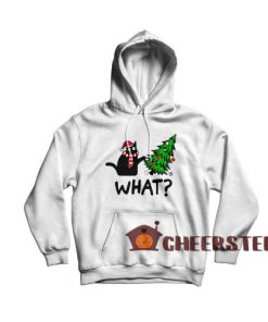 Black Cat What Christmas Hoodie Christmas Tree Size S-3XL