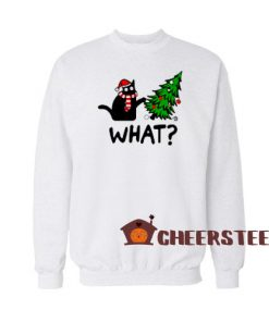 Black Cat What Christmas Sweatshirt Christmas Tree Size S-3XL