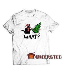 Black Cat What Christmas T-Shirt Christmas Tree Size S-3XL